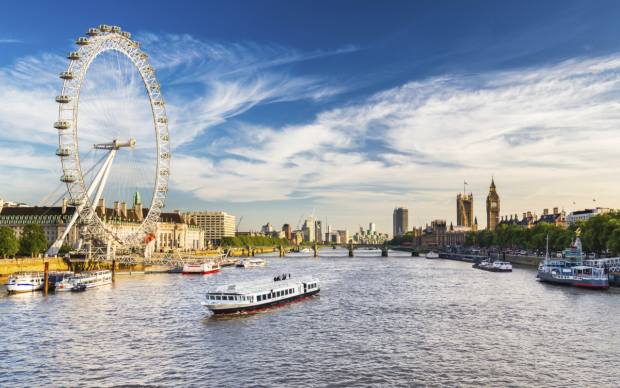 London Eye skyline river thames boat attraction