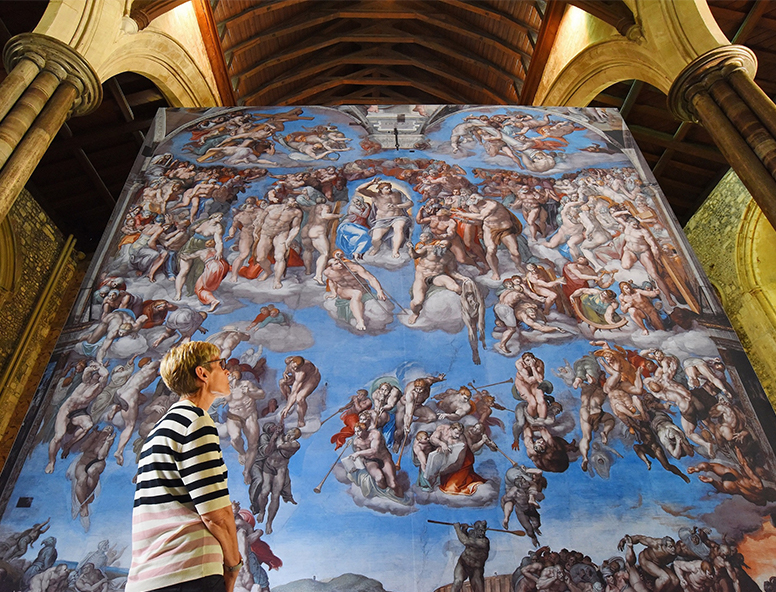 A magnificent six metres square reproduction of The Last Judgement, one of the highlights of the Michelangelo – A Different View exhibition coming to Hull Minster this autumn. Picture- Solent News & Photo Agency
