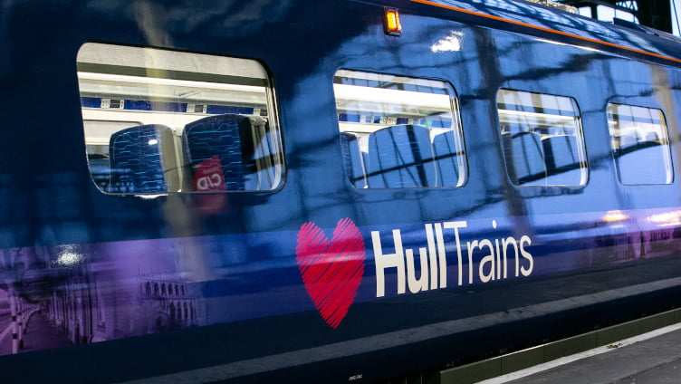 Hull Trains Paragon exterior with logo